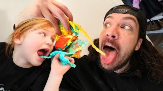 PANCAKE PARTY with ADLEY!! Learning to Cook Magic Color Pancakes with Dad 🥞 (Mom Hands)