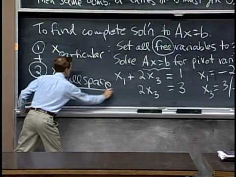 Lec 8 | MIT 18.06 Linear Algebra, Spring 2005