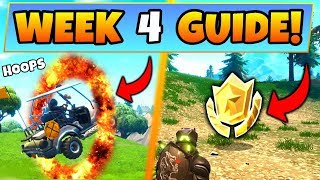 Fortnite WEEK 4 CHALLENGES GUIDE! – FLAMING HOOP Locations, Treasure MAP (Battle Royale Season 5)