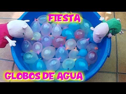 Peppa y George de vacaciones hacen la FIESTA DE LOS GLOBOS DE AGUA  Vídeos de Peppa Pig en español
