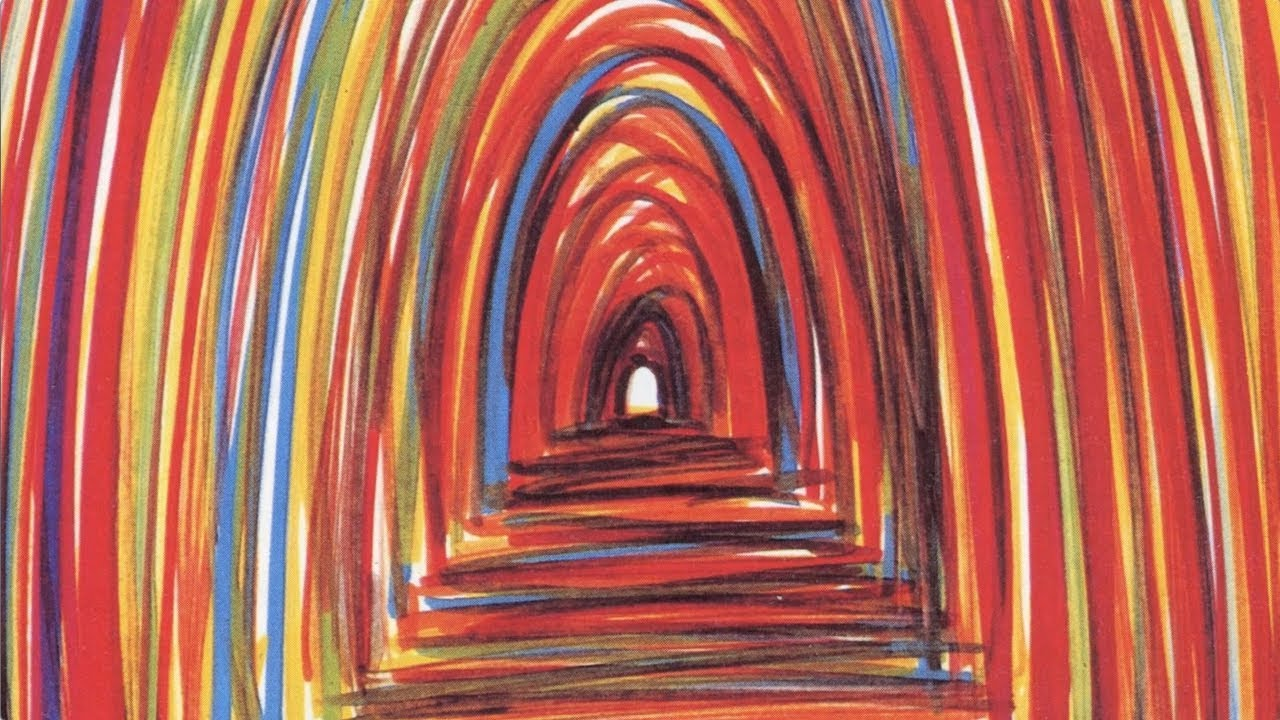 A sketchy and colorful illustration of a rainbow tunnel.