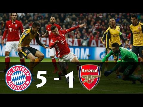 Bayern Munchen vs Arsenal 5 - 1 • Goals and Highlights • UCL 15/02/2017