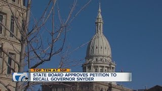 A recall petition for Governor Rick Snyder has been approved. ◂ WXYZ 7 Action News is metro Detroit's leading source for ...