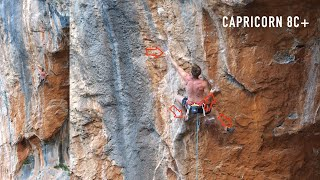 Looking into Capricorn 8c+ / 5.14c by Mani the Monkey