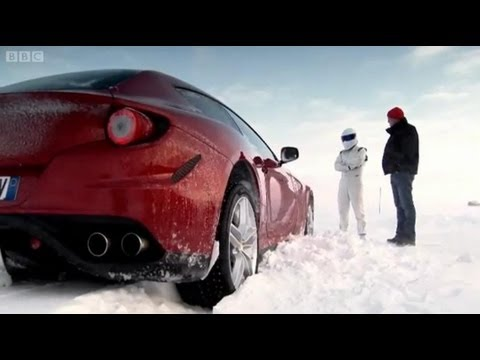 top - The Ferrari FF and Bentley Continental V8 are put through their paces at a unique test track on the edge of the Arctic Circle. The Stig arrives on a hovercra...