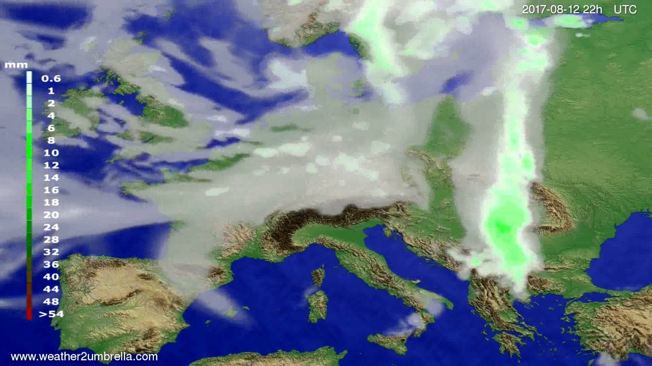 Precipitation forecast Europe 2017-08-10