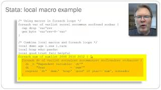 One of the great features of Stata is the local macro construct that allows macro substitution or expansion.  This video walks through an example of using local macros in the context of foreach loops in a regression model.My thanks to Arvind Sharma for pointing out an error at around 5:50 in the video.  I have added an annotation at that point with the correction.