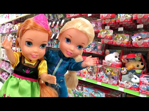 Toy Hunt with Elsa & Anna toddlers ! Lots of toys and dolls ! Playing