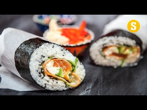 An Amusing Demonstration Showing How to Make a Giant BurritoSized Sushi