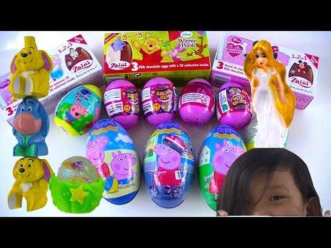 Surprise Eggs: Pepa Pig Glitzi Globes Disney Princess Cinderella Rapunzel – Kids' Toys
