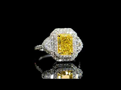 GIA Certified 2.12ct 'Internally Flawless' Fancy Intense Yellow Diamond Ring
