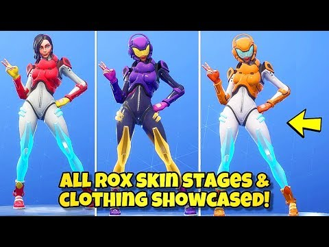 NEW ROX SKIN STAGES & COLORS SHOWCASED! Fortnite Battle Royale (ALL ROX SKIN STYLES) SEASON 9