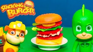 PAW PATROL Plays PJ MASKS IN Stacking Burger Game with Shimmer...