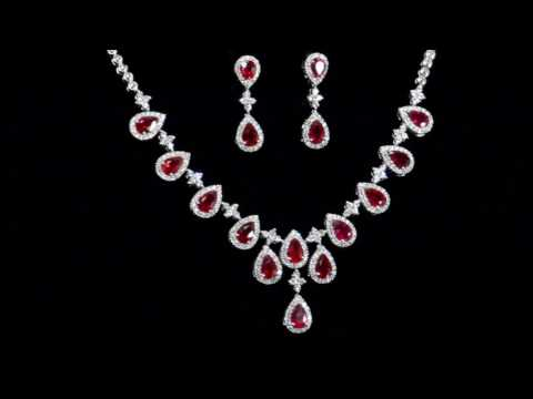 18k White Gold 8.86ct (TW) Ruby and Diamond Necklace and Earrings Set