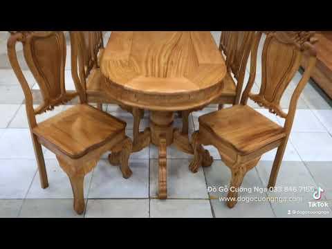 Bàn ăn gỗ gõ đỏ 6 ghế mẫu ô van | Đồ Gỗ Cường Nga