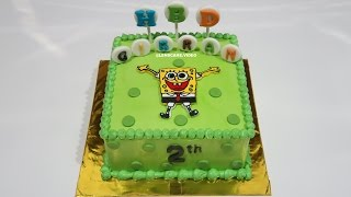 SpongeBob Cake!  Kue Ulang Tahun - Cara Membuat Kue Ultah Sederhana - How to Make Birthday Cake Video