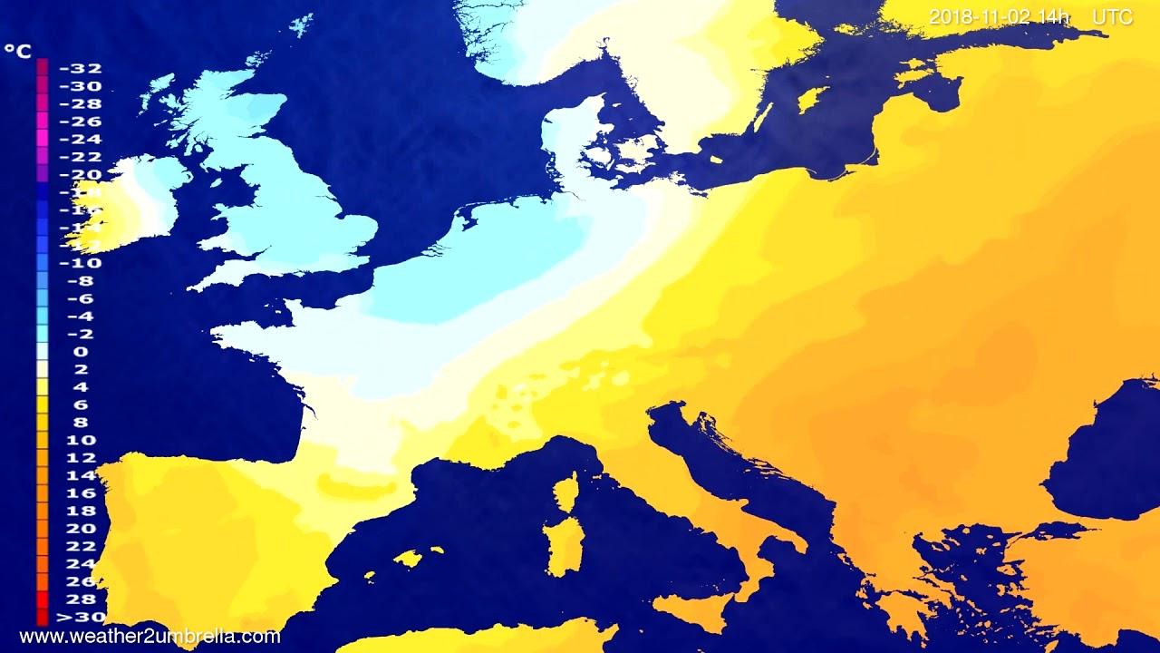 Temperature forecast Europe 2018-10-31