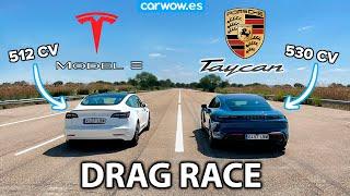 TESLA MODEL 3 PERFORMANCE MY 2021 vs PORSCHE TAYCAN 4S - DRAG RACE