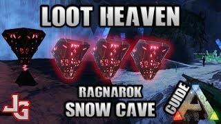 "Loot Heaven is the right word for the Snow Cave. In this ""Guide"" I'll show you through the snow cave on the Ragnarok map with Skyler from my tribe. We got a lot of loot and many ascendant as well. This is properly the best way to farm loot on the Ragnarok map.You don't need much to do it. You could do it on foot, but I recommend flying in there on a bird, in case something should happen.If you wondered what kind of gear I used, its flak and good fur gloves and boots.The exit to the snow cave is located at:36 LAT, 41 LONThe entrance to the snow cave is located at:31 LAT, 38 LONARK - Legit Propellant - Flame Arrow - Cluster Grenade etc. - Ragnarok Maphttps://youtu.be/zxd8BHf-YrkARK Glitch - How to get into the Desert on Ragnarok MAP! Get Cactus, Sulfur, Propellant, Flame Arrowhttps://youtu.be/0wafDnG7gg0ARK - Bionic Skins - Rex and Giga - Guide - How to get them in 30 minhttps://youtu.be/m9Va7jLDJEQMUSIC:TheFatRat - WindfallTheFatRat - Monody (feat. Laura Brehm) TheFatRat - UnitySUBSCRIBE to learn more about ARK!http://www.youtube.com/subscription_center?add_user=jonesy-gamingPATREON: Let's support each other!https://www.patreon.com/JonesyGamingHOST your own ARK server?https://hosthavoc.com/billing/aff.php?aff=589-- My WISHLIST for my new HIGH END GAMING computer --▪ Monitor ▪ Asus 27"" LED G-Sync Rog Swift PG279Qhttp://amzn.to/2oDRZ4v▪ GPU ▪ Asus GeForce GTX 1080 Ti Founders Ed.http://amzn.to/2nQr6gv▪ CPU ▪ Intel Core i7-7700K Kaby Lake Processorhttp://amzn.to/2nkMQgx▪ RAM ▪ 2x Corsair Vengeance LPX DDR4 3200MHz 16GBhttp://amzn.to/2oE8Unv▪ MB ▪ ASUS Strix Z270F Gaming, Socket-1151http://amzn.to/2nkNCtZ ▪ SSD ▪ Samsung 850 EVO 500GB M.2 SSDhttp://amzn.to/2nkzWPM▪ Cooler ▪ Noctua NH-U14S CPU Coolerhttp://amzn.to/2nkEBkI▪ PSU ▪ EVGA Power Supply 650W GOLDhttp://amzn.to/2oDZOao▪ CASE ▪ Fractal Design - Define C Blackhttp://amzn.to/2nkDpOj"