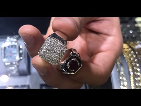 Mens Godfather Garnet Ring & Heavy Silver Diamond Ring