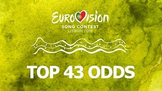Video The top 43 according the bookmakers/betting odds - Eurovision Song Contest 2018 (March 13th 2018) MP3, 3GP, MP4, WEBM, AVI, FLV Maret 2018