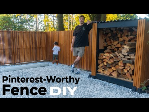 How To Build A Pinterest Worthy Modern Fence With A Gate And Wood Storage   DIY #homeimprovement