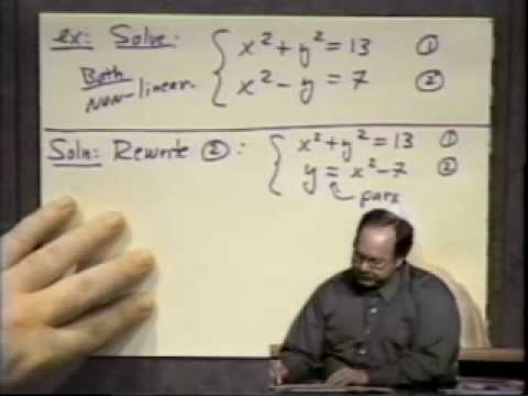 College Algebra - Lecture 34 - System der nichtlinearen Gleichungen