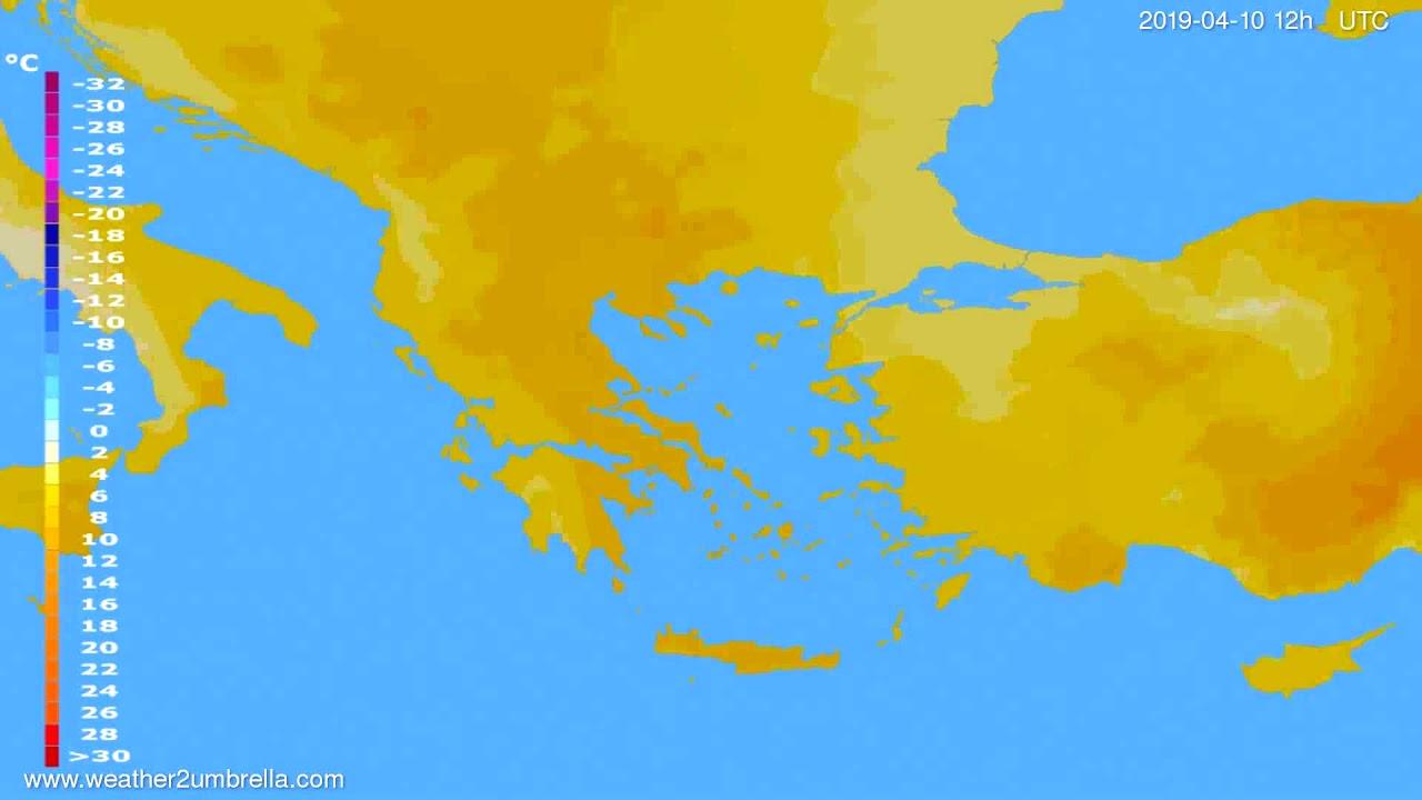 Temperature forecast Greece // modelrun: 12h UTC 2019-04-08