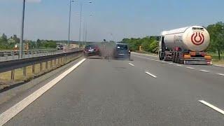 Wypadek na autostradzie A4. Film z wideorejestratora.