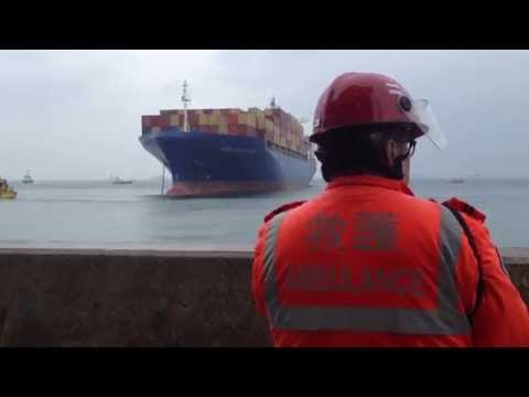 ship runs aground - Hong Kong residents can't believe their eyes as a giant ship heads straight towards university sports grounds. Copyright: Corinne Vigniel/ To use this video ...