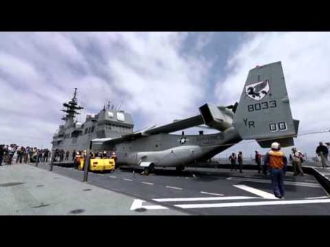ship - A U.S. Marine Corps MV-22 Osprey aircraft has made an unprecedented landing on a Japanese naval vessel off the California coast. (June 14)
