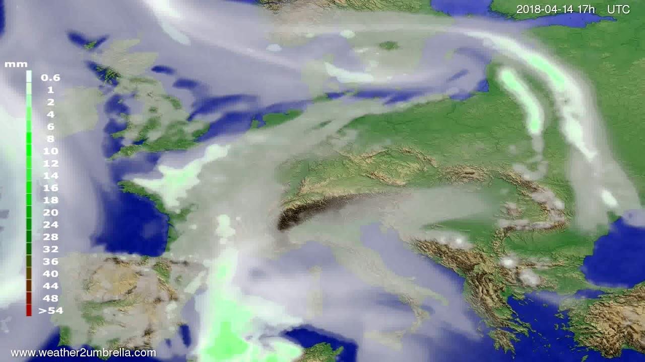 Precipitation forecast Europe 2018-04-12