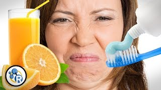 Why Does Toothpaste Make Orange Juice Taste Bad? - Reactions - YouTube