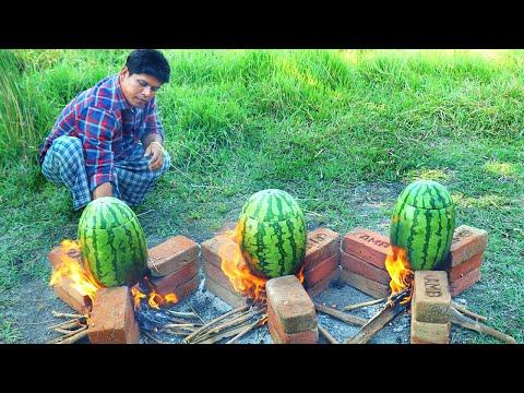 WATERMELON CHICKEN | Cooking Skill | Village Food
