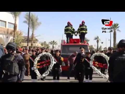 جنازة عسكرية لشهيد تفجير مبنى« تأمين الطرق» بالسويس
