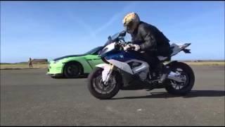 7. 1000bhp GTR vs 2016  BMW S1000RR, drag racing on a runway, car vs bike