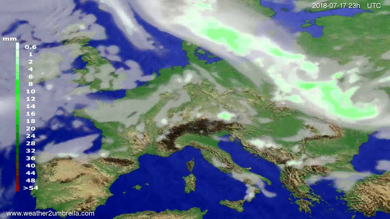Precipitation forecast Europe 2018-07-14
