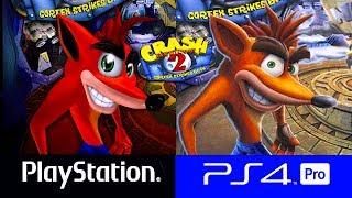Comparativo gráfico del juego Crash Bandicoot 2  entre el PlayStation  1 y PlayStation 4 PRO