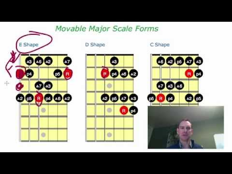 How to read scale or chord grids for guitar, scale shapes explained