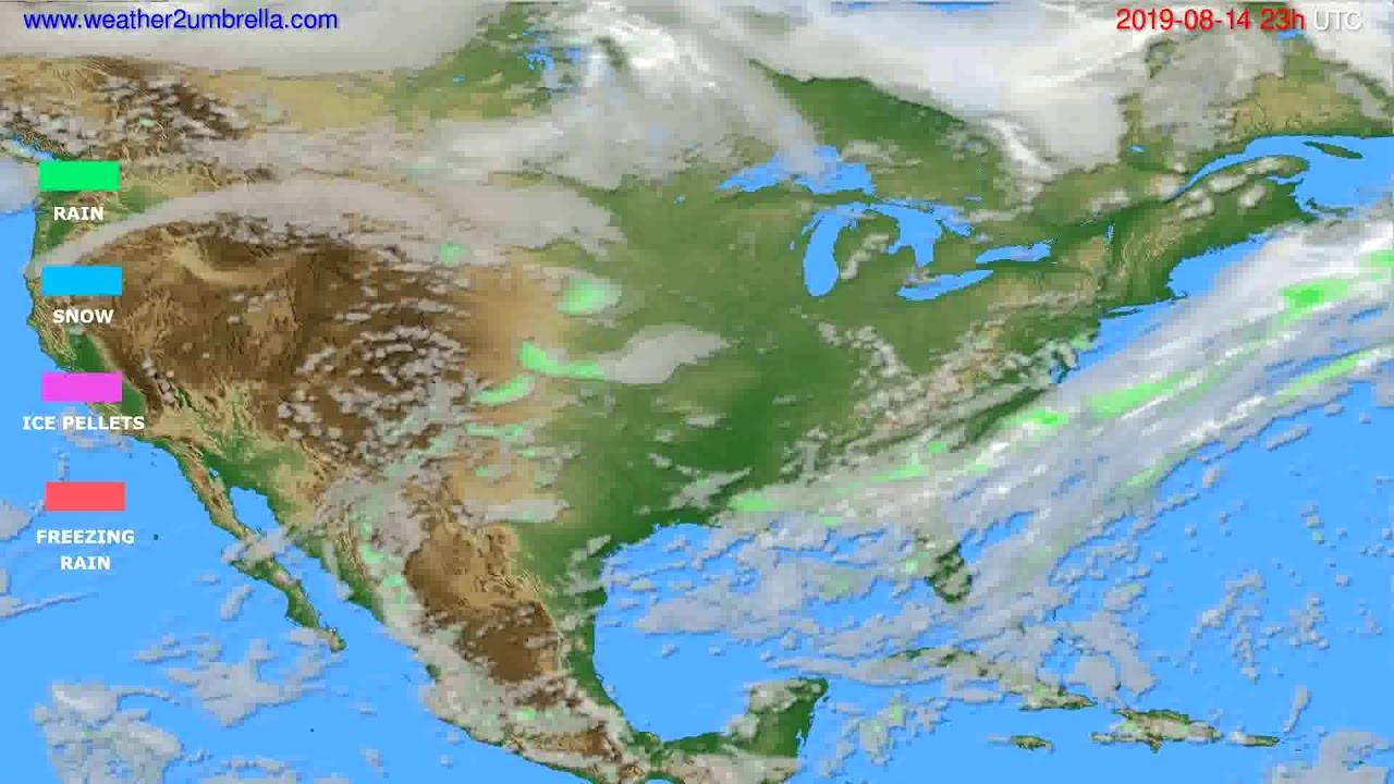 Precipitation forecast USA & Canada // modelrun: 12h UTC 2019-08-11