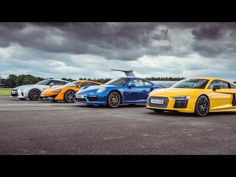 Nissan GT-R, McLaren 570S, Porsche 911 и Audi R8 сравнили в дрэге