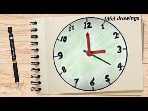رسم ساعة حائط رسم سهل للاطفال Drawing A Wall Clock رسم ساعة