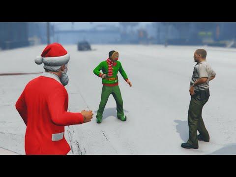 SNOW BALL FIGHTING! (GTA 5 Funny Moments) (видео)
