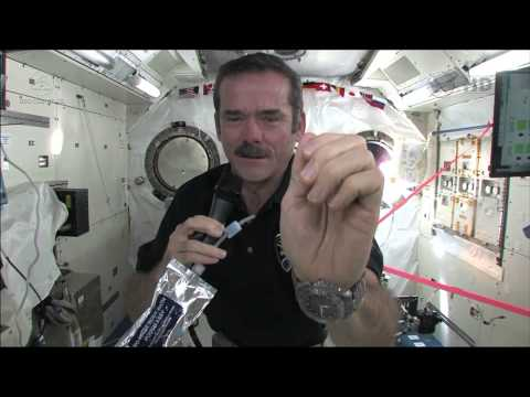 Wash - ISS Commander Chris Hadfield shows us the fine points of manual digital hygiene in microgravity. A clean-handed astronaut is a happy astronaut.