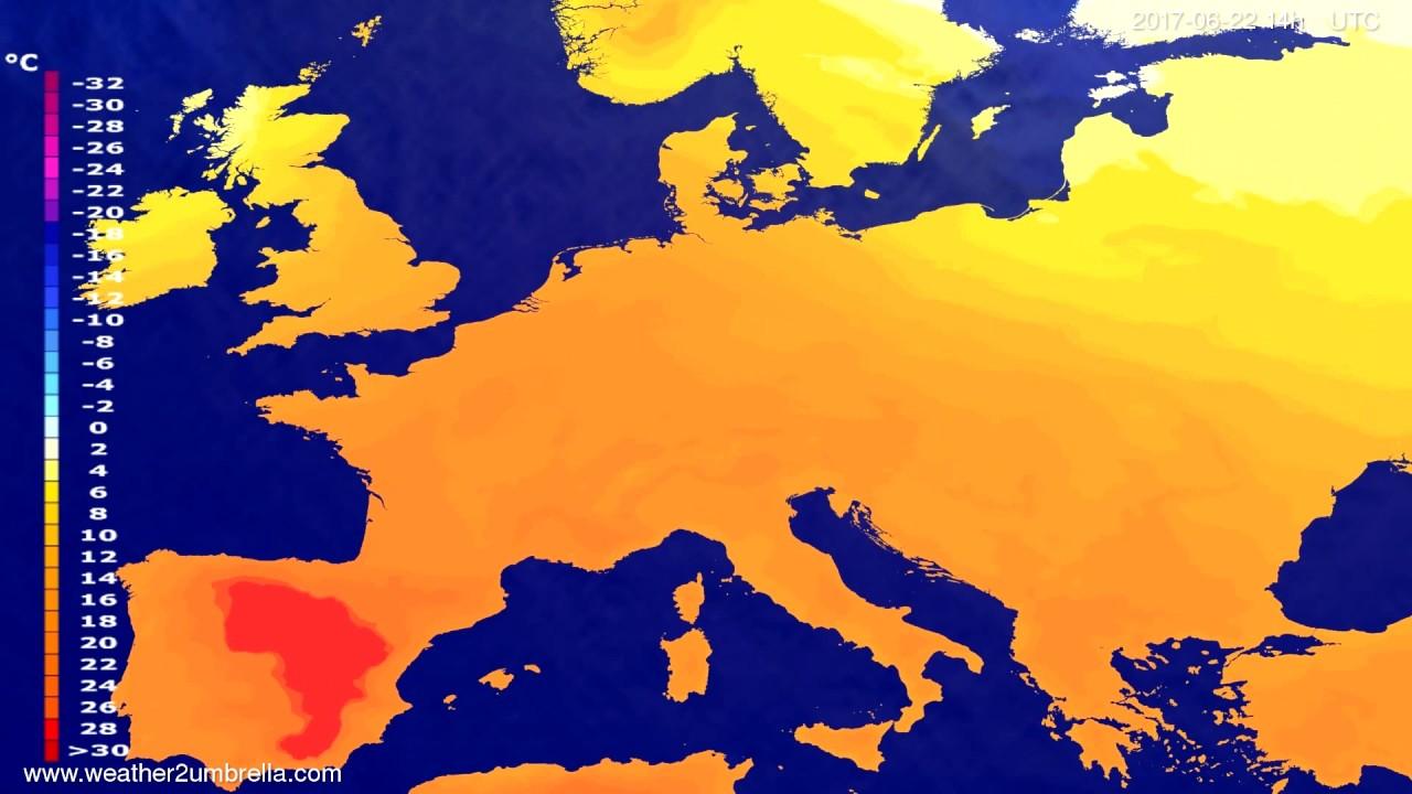 Temperature forecast Europe 2017-06-18