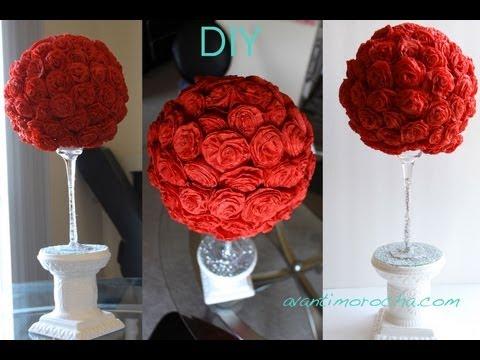 DIY Paper Rose Topiary / Topario de Rosas de Papel