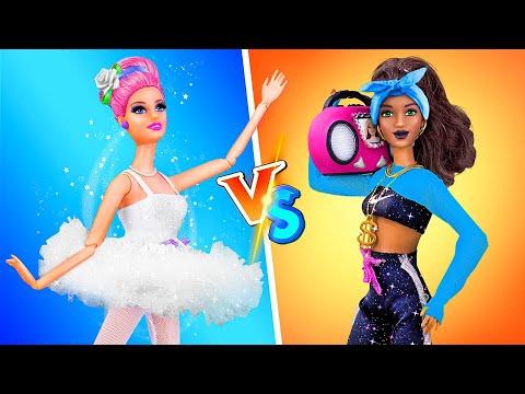 14 DIY Barbie Doll Hacks and Crafts / Hip Hop vs Ballet Dance