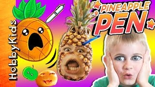 GIANT Pineapple Pen! Video Gaming Phone App + Fruit Pen Throwing Battle Skit HobbyKidsTV Video