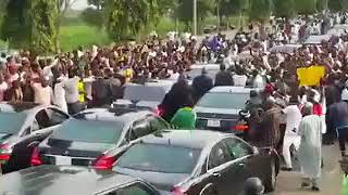 Thousands of Buhari Supporters Welcoming the President into Aso Presidential Villa.
