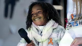 Martin Luther King Jr's granddaughter, 9, leads chants at anti-gun rally